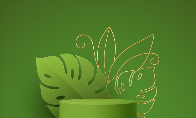 Product podium with golden monstera leaf line art on green background