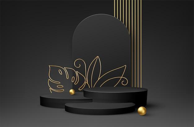 線画に金色のモンステラの葉を持つ製品の表彰台