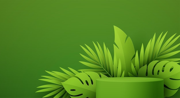Product podium with green paper cut tropical monstera and palm leaf on green background. modern mockup template for advertising. vector illustration eps10