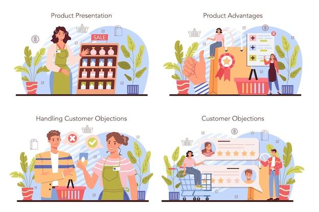 Набор концепции презентации продукта. предприниматель, представляющий новый продукт