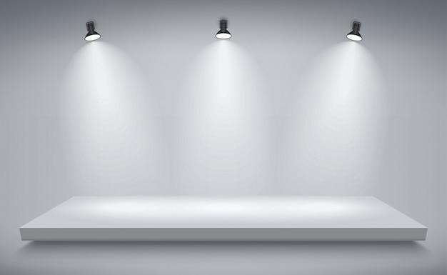 제품 발표 연단, 흰색 무대, 빈 흰색 받침대