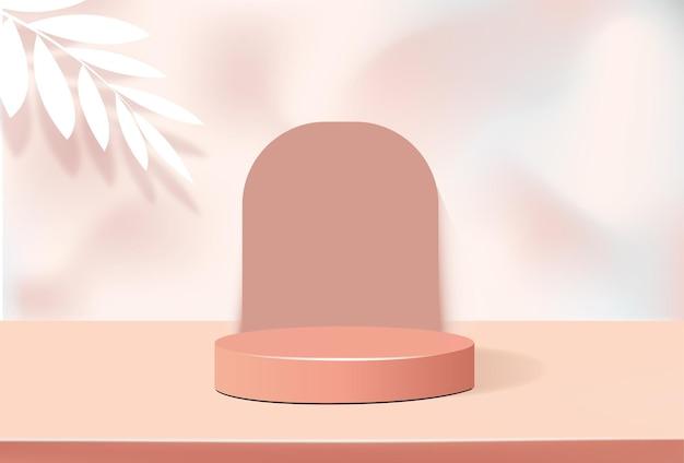 제품 프레젠테이션 스탠드, 미니멀 스타일의 파스텔 오렌지 연단의 기하학적 모양