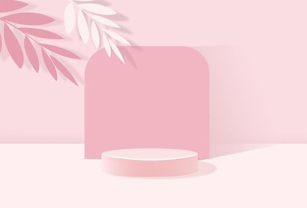 제품 프레젠테이션 스탠드, 기하학적 모양의 파스텔 핑크 연단 미니멀 스타일