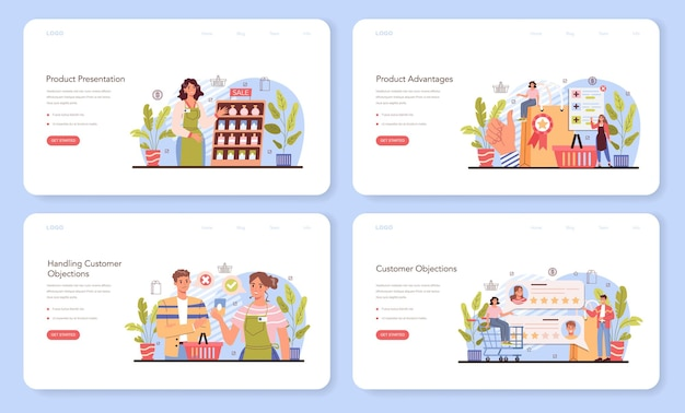 Product presentation web banner or landing page set. entrepreneur presenting new product and its advantages to a customer. marketing campaign event. client's feedback. flat vector illustration