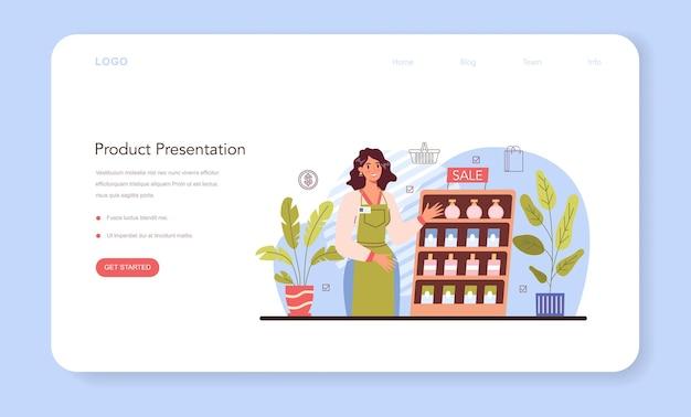제품 프레젠테이션 웹 배너 또는 방문 페이지 기업가 프레젠테이션