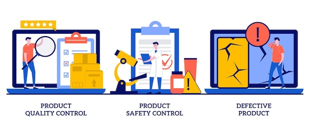 Product quality, safety control, defective product concept with tiny people. product manufacturing  set. customer feedback, inspection, warranty certificate.