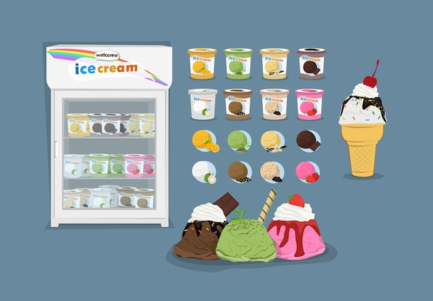 Product and refrigerator freezer of ice-cream variety of flavors from nature.