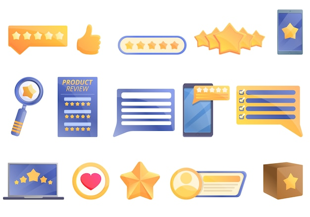 Product review icons set, cartoon style