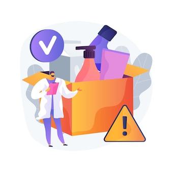 제품 안전 제어 추상적 인 개념 그림입니다. 제조 장비, 제품 테스트 및 검사 작업, 보호 표지, 정보 라벨, 실험실 확인