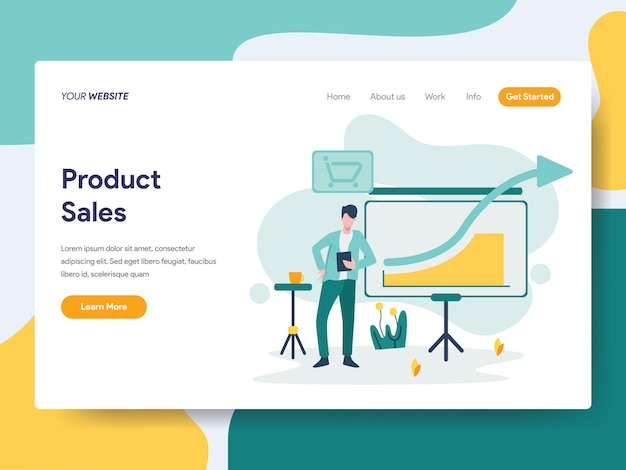 Product sales for website page
