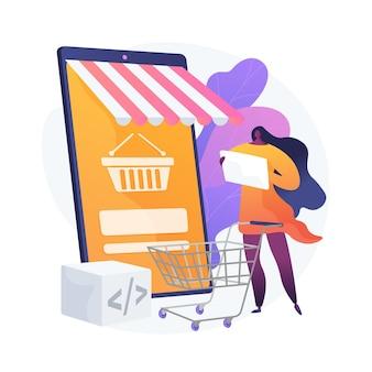 Selezione del prodotto, scelta delle merci, mettere le cose nel carrello. supermercato online, centro commerciale internet, catalogo merceologico. personaggio dei cartoni animati di acquirente femminile. illustrazione della metafora del concetto isolato di vettore.