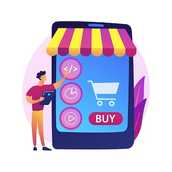 Product selection, choosing goods, put things to basket. online supermarket, internet mall, merchandise catalog. female purchaser cartoon character .