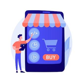 Selezione del prodotto, scelta delle merci, mettere le cose nel carrello. supermercato online, centro commerciale internet, catalogo merceologico. personaggio dei cartoni animati dell'acquirente femminile.