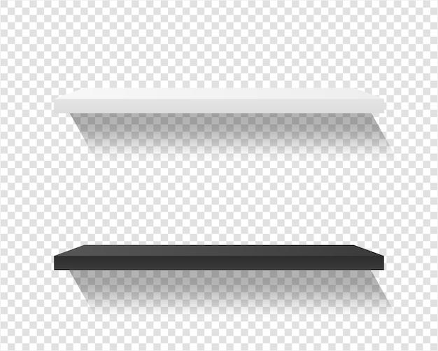 Product shelves isolated on transparent background. black and white shop shelf .   illustration.
