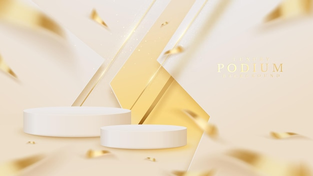 제품 쇼 연단에는 반짝이는 황금색 대각선과 흐릿한 리본 요소, 3d 현실적인 고급 스타일 배경이 있습니다.