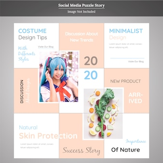 Product social media puzzle story template