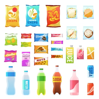 Product for vending. tasty snacks sandwich biscuit candy chocolate drinks juice beverages pack retail, set flat