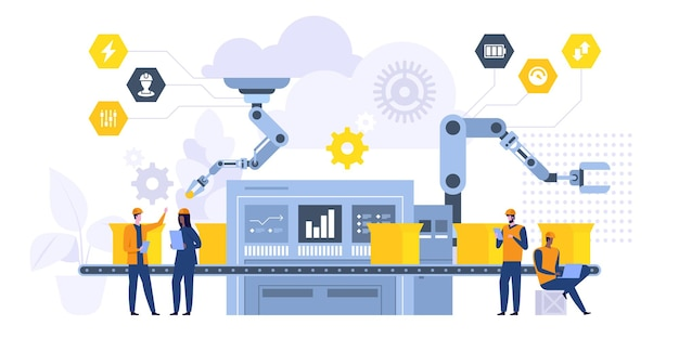 Production automation flat vector illustration. male and female factory workers, engineers cartoon characters. smart manufacturing process, robotic equipment. futuristic high tech machinery