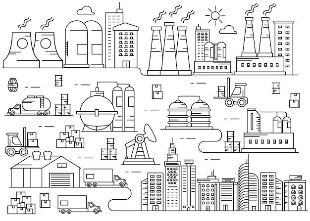 生産産業都市細い線画