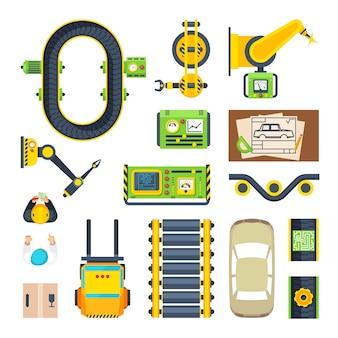 Production line elements icon set