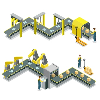 Production line isometric illustration infographic