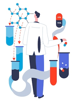 Production of new medicine, pills and capsules. researcher with substances in laboratory conducting experiments. pharmacology and pharmaceutical industry, healthcare and treatment vector in flat
