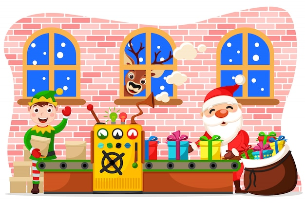 Производство елочных игрушек. дед мороз кладет подарки в сумку, эльф доставляет заготовки, а олень смотрит в окно.