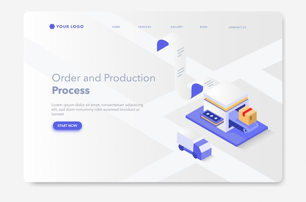 Production and packaging process isometric landing page or web template