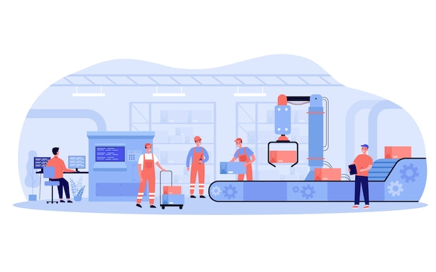 Production process in factory. workers and robot removing boxes from conveyor belt. engineer at computer controlling system.  illustration for industry, automation, machine technology concepts