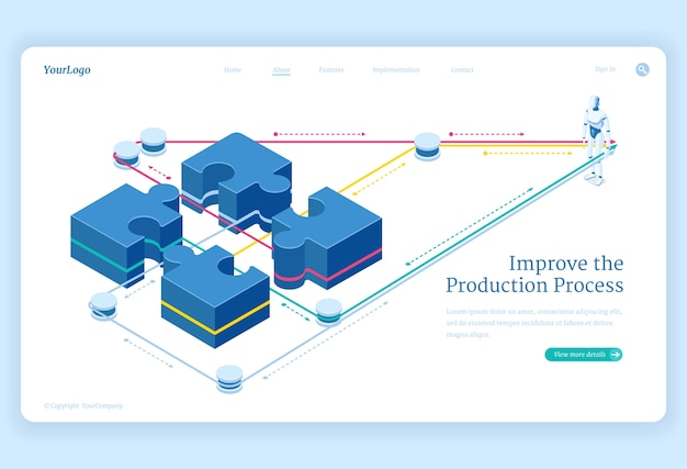Production process improve isometric landing page, leverage connect puzzle pieces and artificial intelligence robot. teamwork solutions, business team cooperation 3d vector illustration,