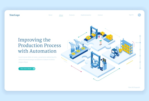Production process with automation isometric landing page. factory robotics arms on conveyor belt, smart warehouse logistics, cyborg industrial revolution, plant work improving 3d web banner
