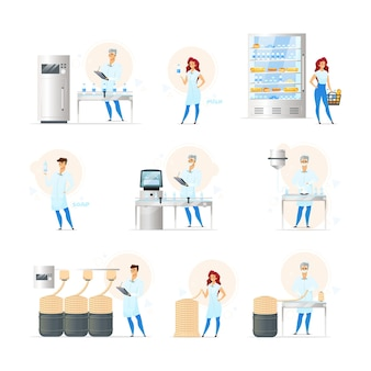 Production processes flat illustration isolated