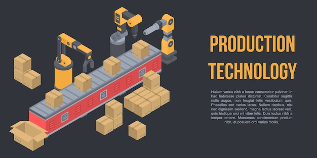 Production technology concept banner, isometric style