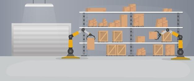 Производственный склад с ящиками и поддонами.