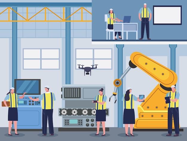 生産労働者の工場シーン