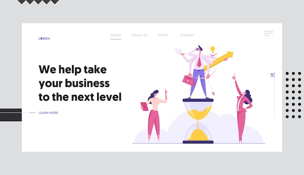 Productive businessman with six hands doing several actions concept landing page set