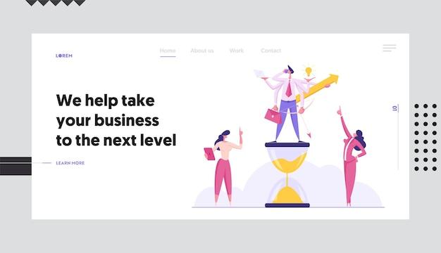 Производительный бизнесмен с шестью руками, делающий несколько действий концепции набора целевой страницы