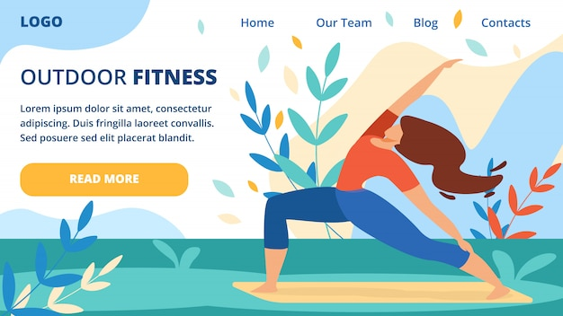 Productive healthy outside sports exercises banner