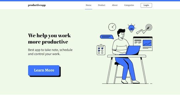 생산적인 남성이 노트북 방문 페이지에서 작업