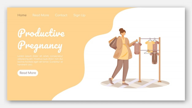 Productive pregnancy landing page vector template. clothing store for babies website with flat illustrations. website design