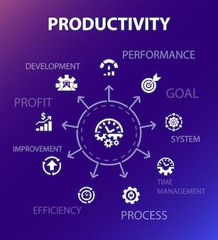 生産性コンセプトテンプレート。モダンなデザインスタイル。パフォーマンス、目標、システム、プロセスなどのアイコンが含まれています