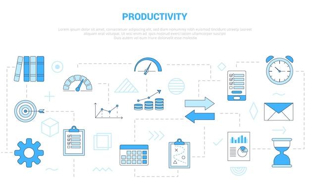 モダンな青い色のスタイルのアイコンセットテンプレートバナーと生産性の概念