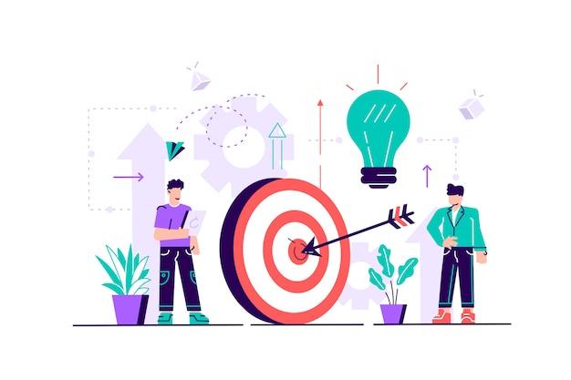 生産性のイラスト。平らな小さな作業効率の人の概念。成功する組織戦略のための創造的なソリューション管理。タスクの品質を向上させるパフォーマンス開発計画。
