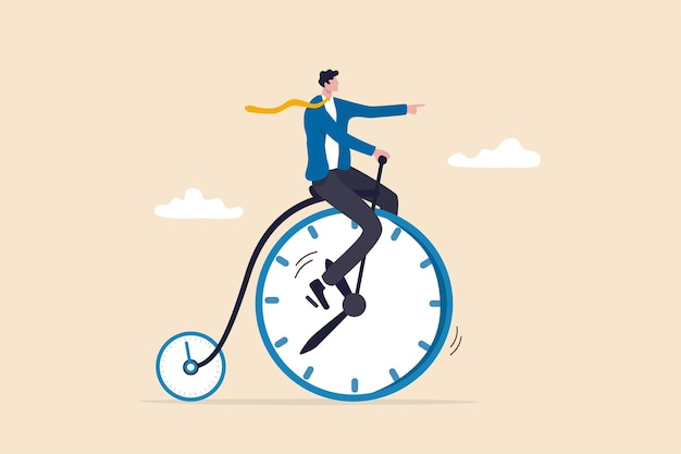 仕事を終えるのに時間を費やす生産性または効率、時間管理またはワークライフバランスの概念、時計として前輪とストップウォッチタイマーとして小さな車輪を備えたビンテージ自転車に乗るビジネスマン。