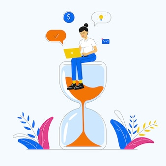 Productivity and time management with woman sitting on an hourglass and working on laptop