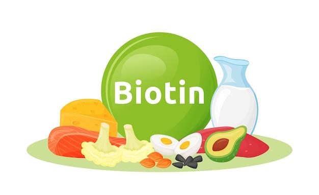 Продукты, содержащие иллюстрации шаржа биотина. цветной объект семян и органических молочных продуктов. хорошее питание на белом фоне