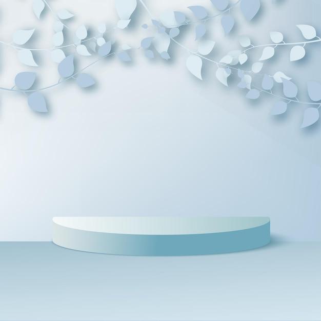 製品は、青い葉と幾何学的なプラットフォームを備えた3d背景表彰台シーンを表示します。ベクトルイラスト