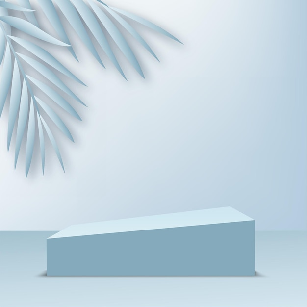 Products display 3d background podium scene with blue leaves and geometric platform. vector illustration.