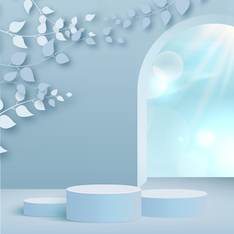 Products display 3d background podium scene with blue leaves and geometric platform. vector illustration