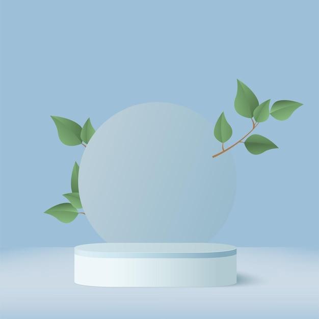 製品は、青い形の幾何学的なプラットフォームと緑の葉で3d背景表彰台シーンを表示します。ベクトルイラスト。